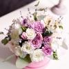 Cutie de Lux Mică Roz cu Flori Mixte