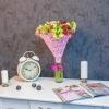 Buchet din 15 alstromerii in plasa roz
