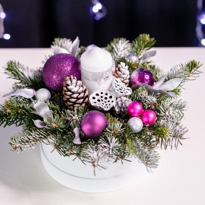 Compoziție de Crăciun în Cutie Rotundă