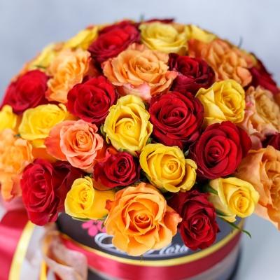 Cutie de Lux cu Trandafiri Mix Orange