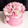 Cutie de Lux Mare cu Lalele Alb-Roz