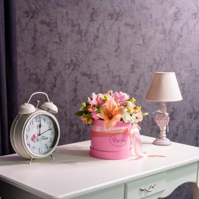 Cutie de Lux Roz Medie cu Flori Mixte