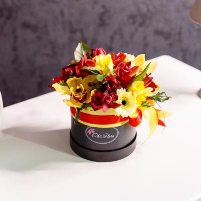 Cutie de Lux Mică Neagră cu Flori de Lux