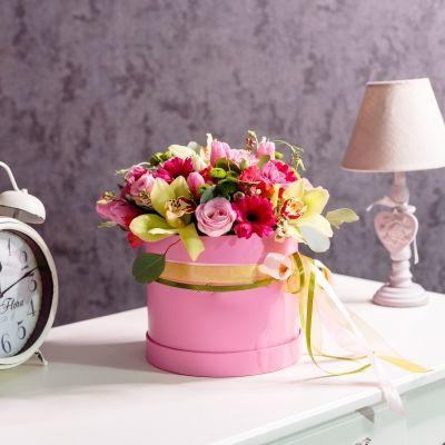 Cutie de Lux Mare Roz cu Flori Mixte