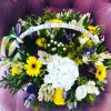 Coș cu Flori Alb-Galben-Violet