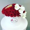 Cutie de Lux cu 101 Trandafiri, Orhidee și Ferrero Rocher