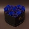 17 Trandafiri Criogenați Albaștri în Inimă Neagră