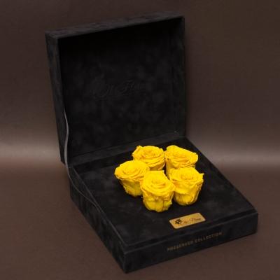 5 Trandafiri Criogenați Galben în Cutie de Catifea