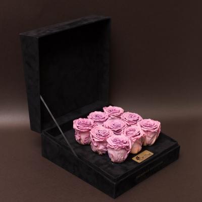 9 Trandafiri Criogenați Mov în Cutie de Catifea