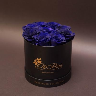 9 Trandafiri Criogenați Albaștri în Cutie de Lux Mică Neagră