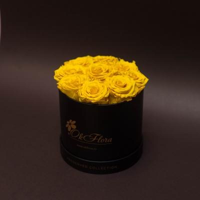9 Trandafiri Criogenați Galbeni în Cutie de Lux Mică Neagră