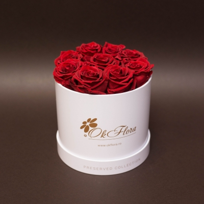 9 Trandafiri Criogenați Roșii în Cutie de Lux Mică Albă