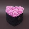 9 Trandafiri Criogenați Roz în Înimă de Catifea