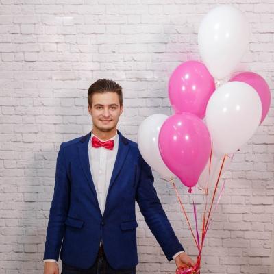 Baloane alb roz cu heliu