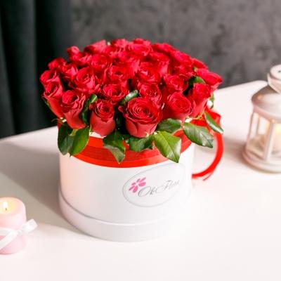 Cutie de Lux Mare cu Trandafiri Roșii