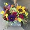 Lădiță Rustică cu Flori de Toamnă