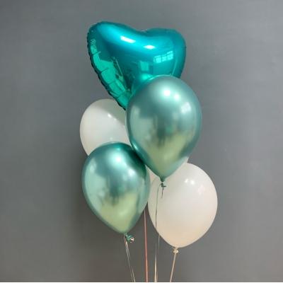 Mix din Inimioară și Baloane Alb Turcoaz cu heliu