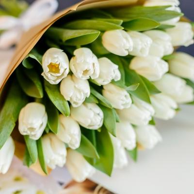 Buchet din 25 lalele albe in hirtie naturala