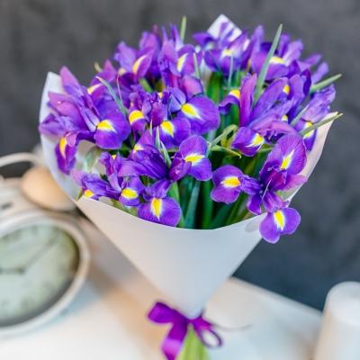 Buchet din 15 irisi in hirtie alba